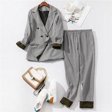 Наряды Брюки 2020 офисный лоскутный рукав с манжетами клетчатый пиджак и брюки костюмы женский костюм для Женский комплект 2 шт.(Китай)