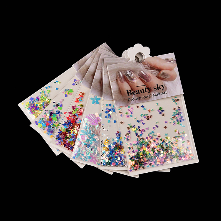 6 bags/set flower snowflake star butterfly mixed pattern nail sequins nail art shapes glitter holographic irregular nail sequins