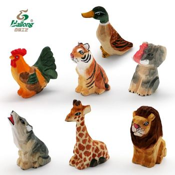 Ready to ship handmade 6cm rustic souvenir gift cute wood carving crafts animals