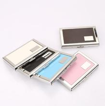 Slim Stainless Steel Pemegang <span class=keywords><strong>Kartu</strong></span> Kredit Dompet <span class=keywords><strong>Logam</strong></span> + PU Business Card Case