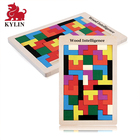Wooden Intelligence Colorful 3D Russian Blocks Game STEM Educational Gift for Baby Kids