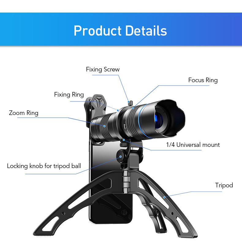أحدث تليسكوب مزود بمنظار ثنائي العدسات 20x zoom-40x قابل للتعديل عدسات تكبير للهاتف المحمول
