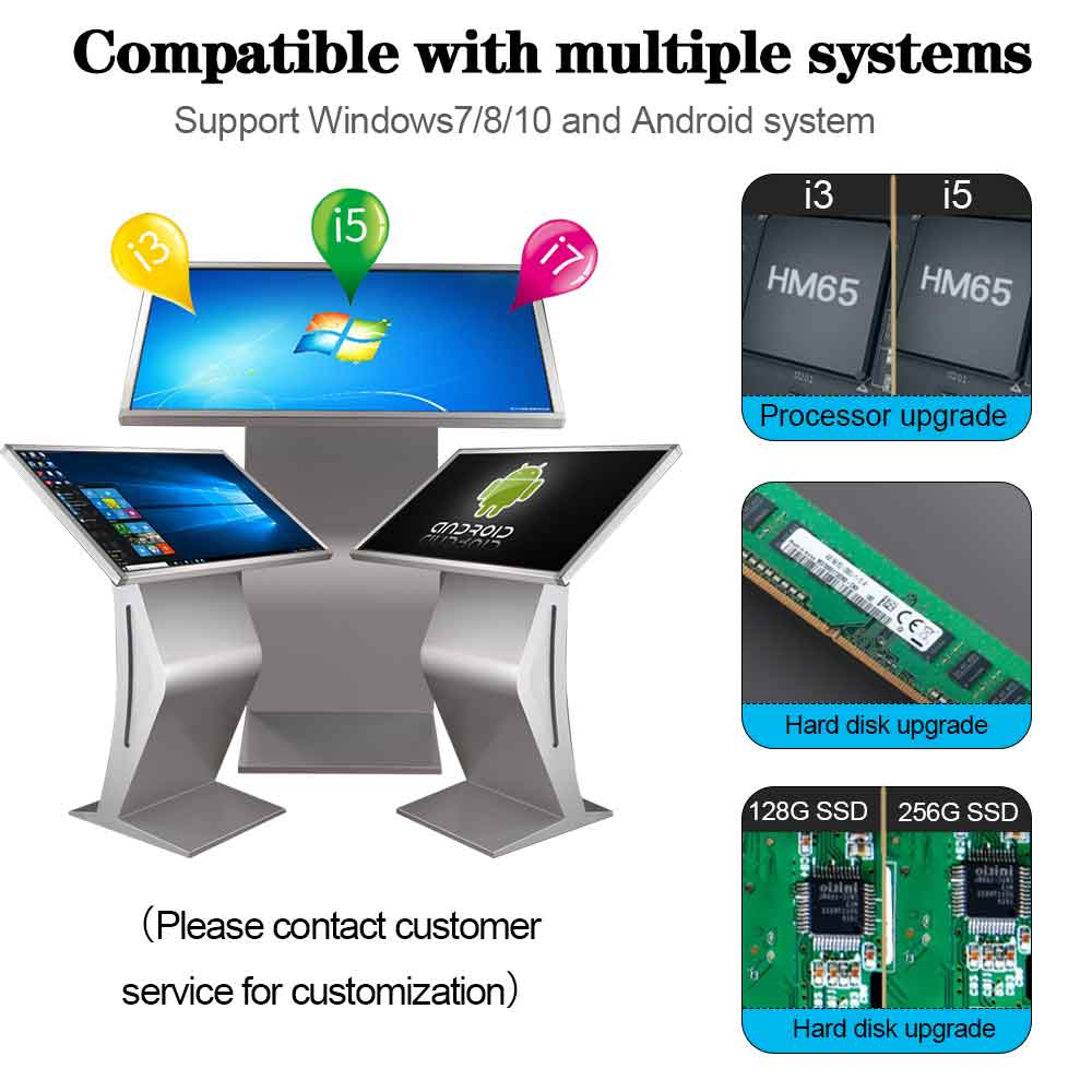 43 inch floor standing touch screen kiosk horizontal touch screen interactive all in one pc kiosk