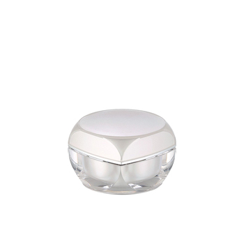 15g luxury white new design double wall acrylic jar with lid and gasket