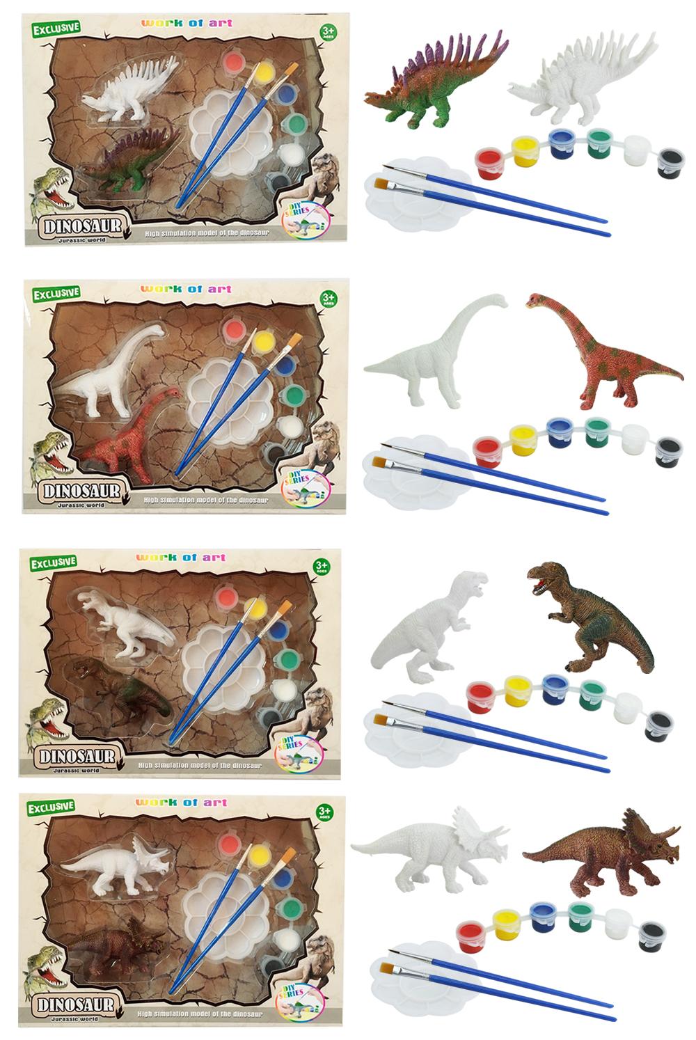 STEM educational coloring gift plastic 3d dinosaur model diy painting set children toys 2020