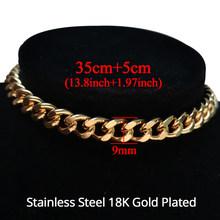 Высококачественное хип-хоп ожерелье, женский воротник, золото, нержавеющая сталь, массивное кубинское ожерелье, цепочка на шею для мужчин(Китай)