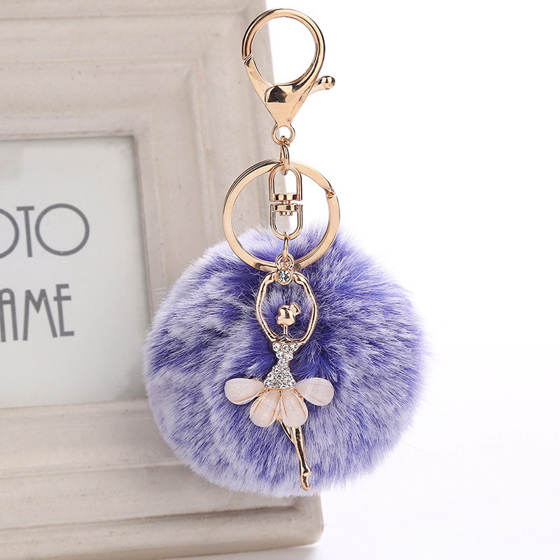 Popular Design Ballet Girl Artificial Fur Ball Pompom Keychains Mix Colorful Angel Fur Ball Keychain