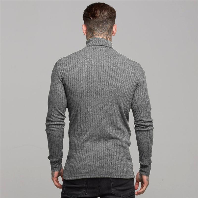 Plus Size Men High Neck Slimming Long Sleeve Sports T Shirt Compression Kinting Shirt 5