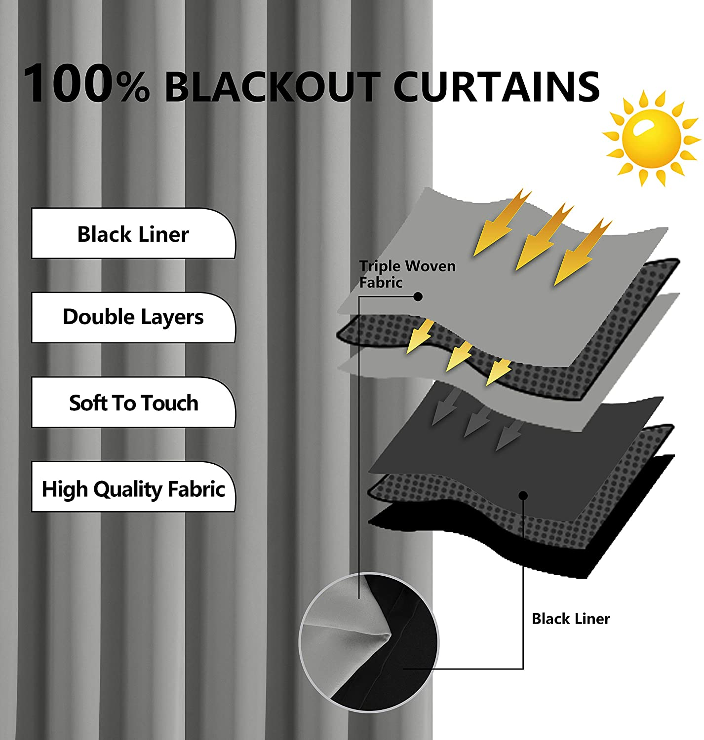 hot selling high quality double layer ready made 100%  blackout curtain