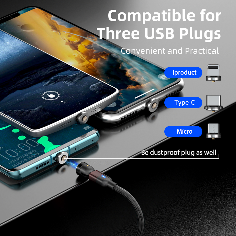 540 degree rotating magnetic cable 3 in 1 for phones L shape & straight use 3A fast Charging data Cable For Android Type C IOS
