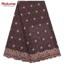 Klaume/Лидер продаж; Африканская швейцарская хлопковая кружевная ткань; Кружевная вуаль в нигерийском стиле; Кружевная ткань с камнями; Нигери...(Китай)