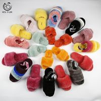 2019 custom pink snow sheepskin fur boots sandals open toe womens sheep fur slippers for winter
