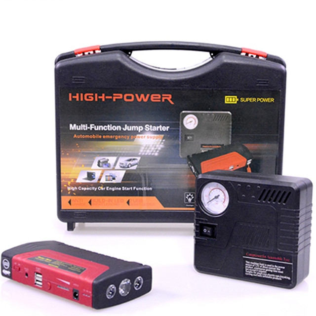 High power 16800mah 400A power bank แบบพกพา 12v multi-function car jump starter with air compressor
