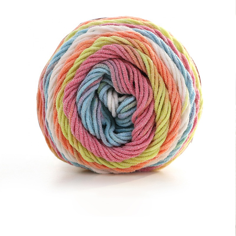 100g Rainbow Color Thick Warm DIY Crochet Knitting Hand-woven Milk Soft Baby Cotton Crochet yarn