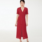 Red polka-dot calf length short sleeve Women dress