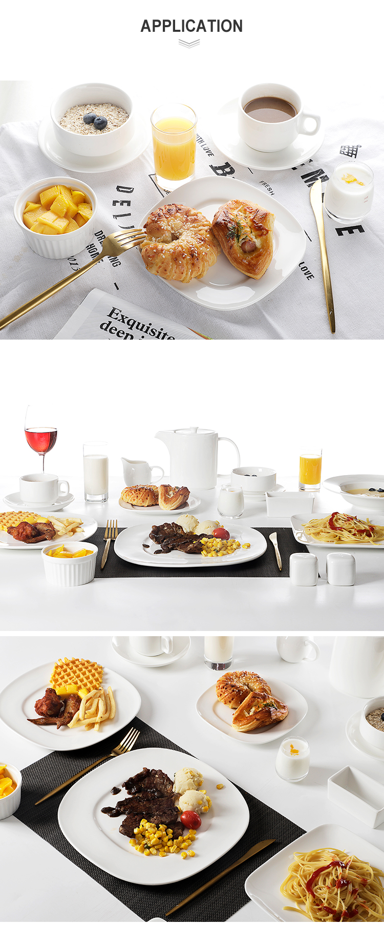 product-Hotel Restaurant Nordic Ceramic Plates Tableware,Square Dinnerware Sets,White Porcelain Dinn-1