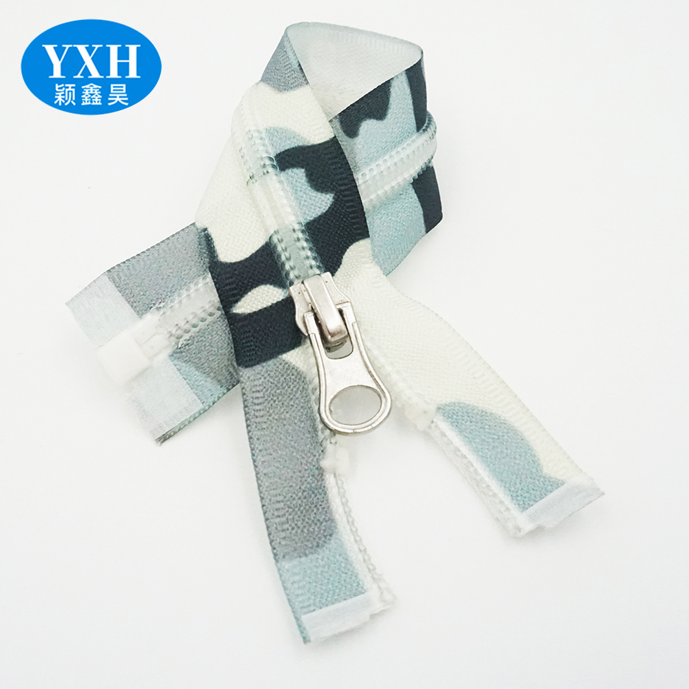 Wholesale 3#4#5# camouflage clothing printed zipper one-way opening nylon invisible waterproof zipper
