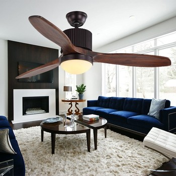 52'' 3 blades real wood cooling air led ceiling fan with light