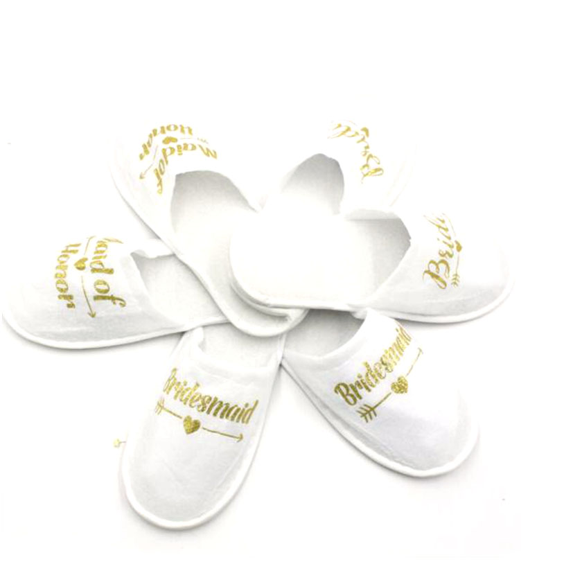 Pajamas party cotton bridal party slippers color English bronzing letters disposable party bridesmaids slippers for women