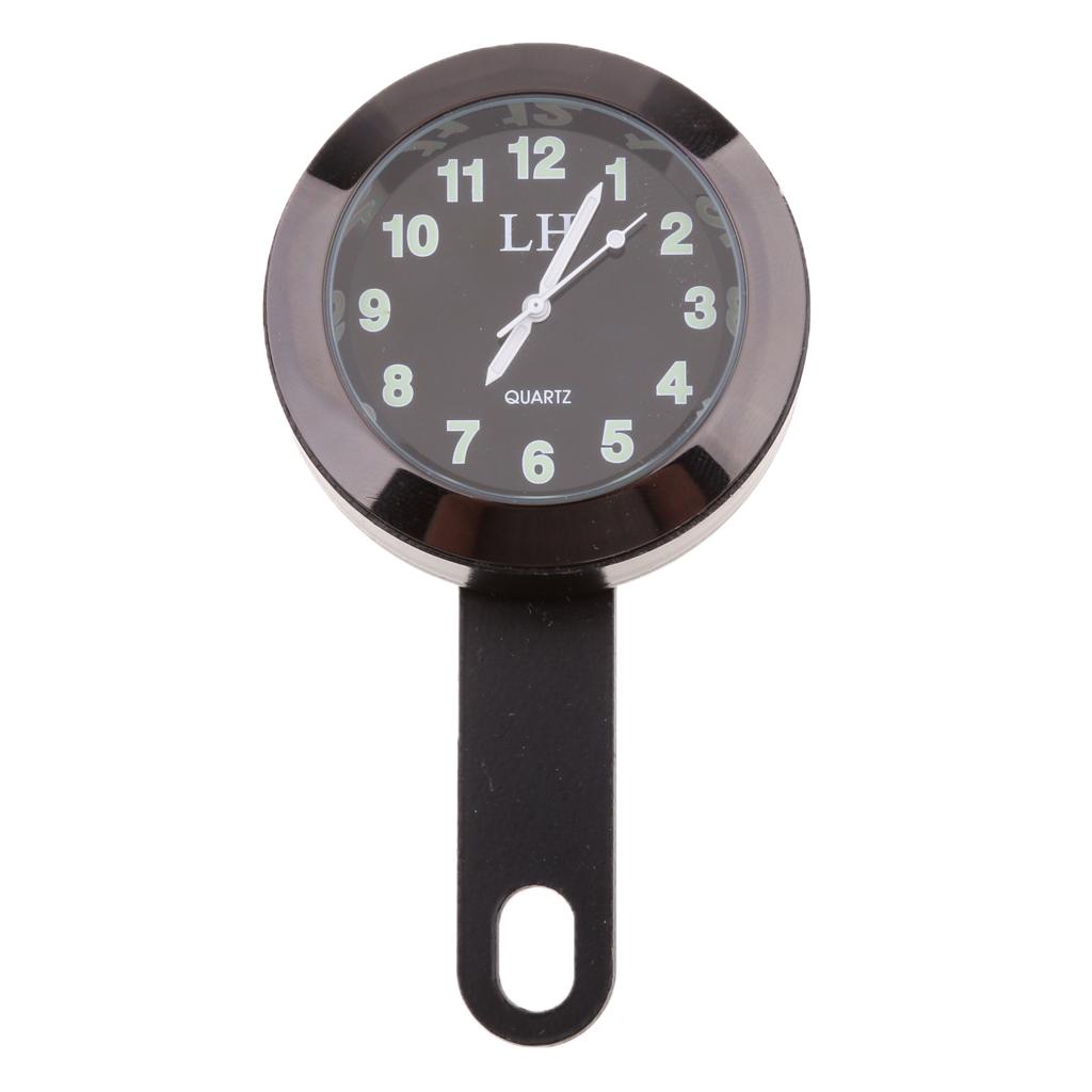 Black Motorcycle Motorbike Handlebar Mount Waterproof Dial Clock Cycling Watch