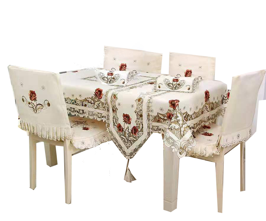 صنع في الصين تطريز يدوي تصاميم مفرش طاولة الزفاف الديكور كرسي يغطي و مفارش طاولة