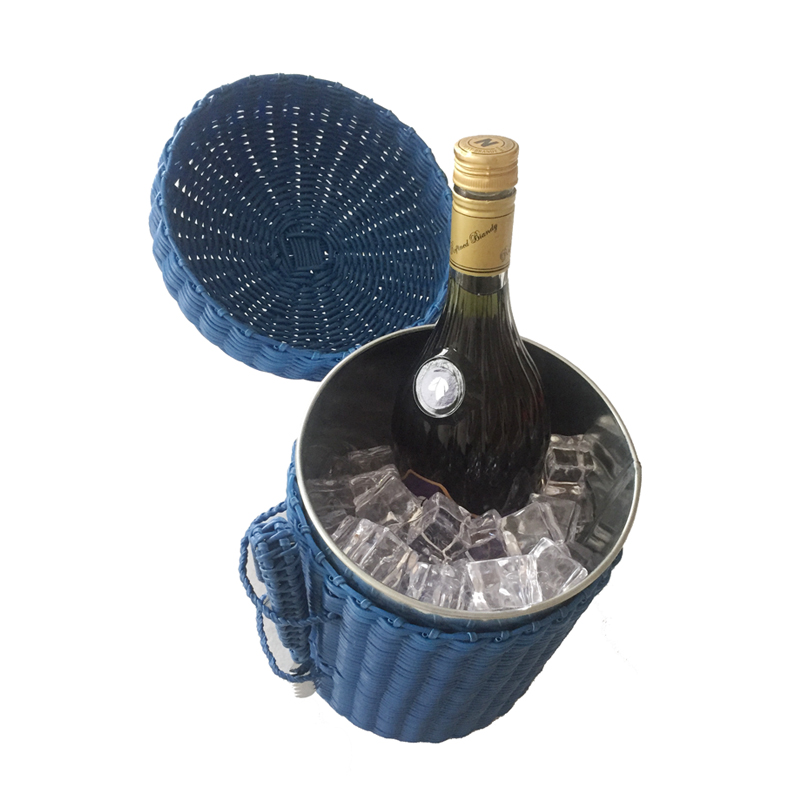 New Arrival Mini Ice Cooler Buckets With Clip Design Portable Rattan Ice Bucket For Beer