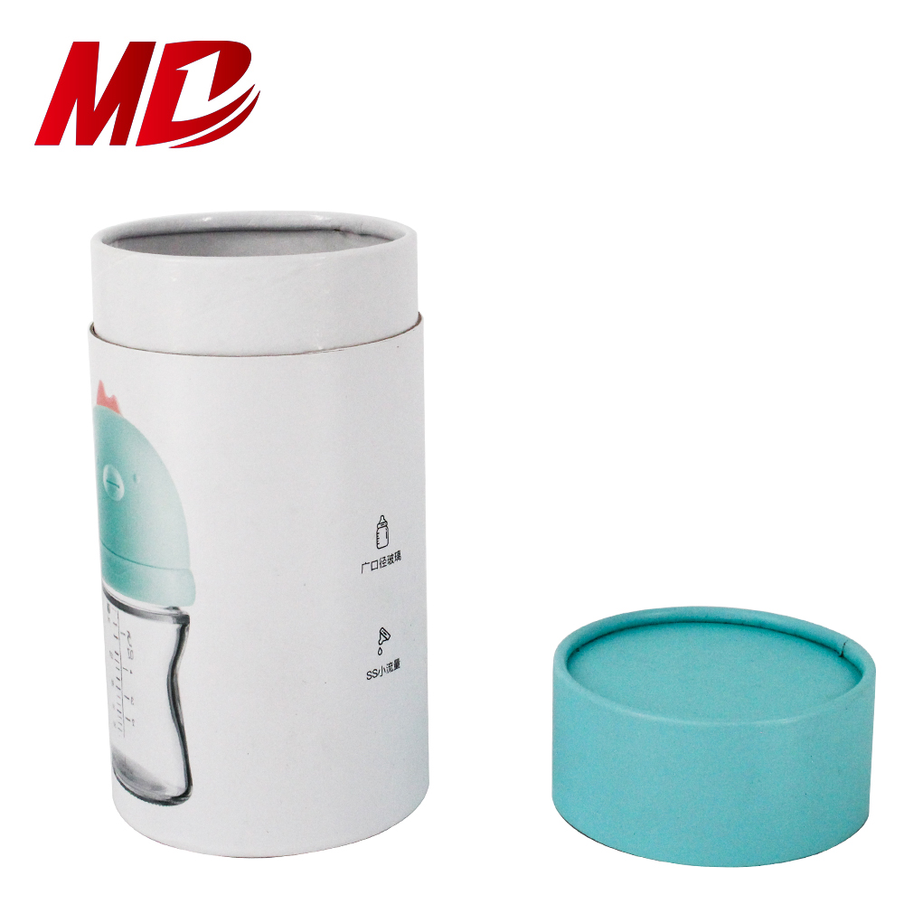 Cosmetic CoCoated Paper sky blue white paper tube container Paper Tube for wide mouth glass bottle