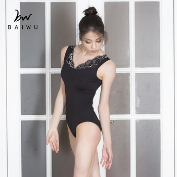 119141008 Baiwu Sleeveless Leotard Black Dancewear Ballet Lace Leotards