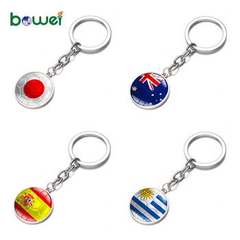 Match Top 32 Countries cabochon country Football Theme Keyring Keychain Metal