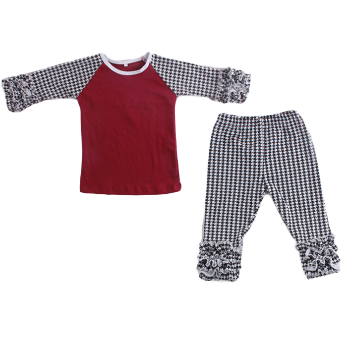 New Ruffle Outfits Baby Girls Toddler Kids Icing Ruffle T-shirt Top Pants Outfit