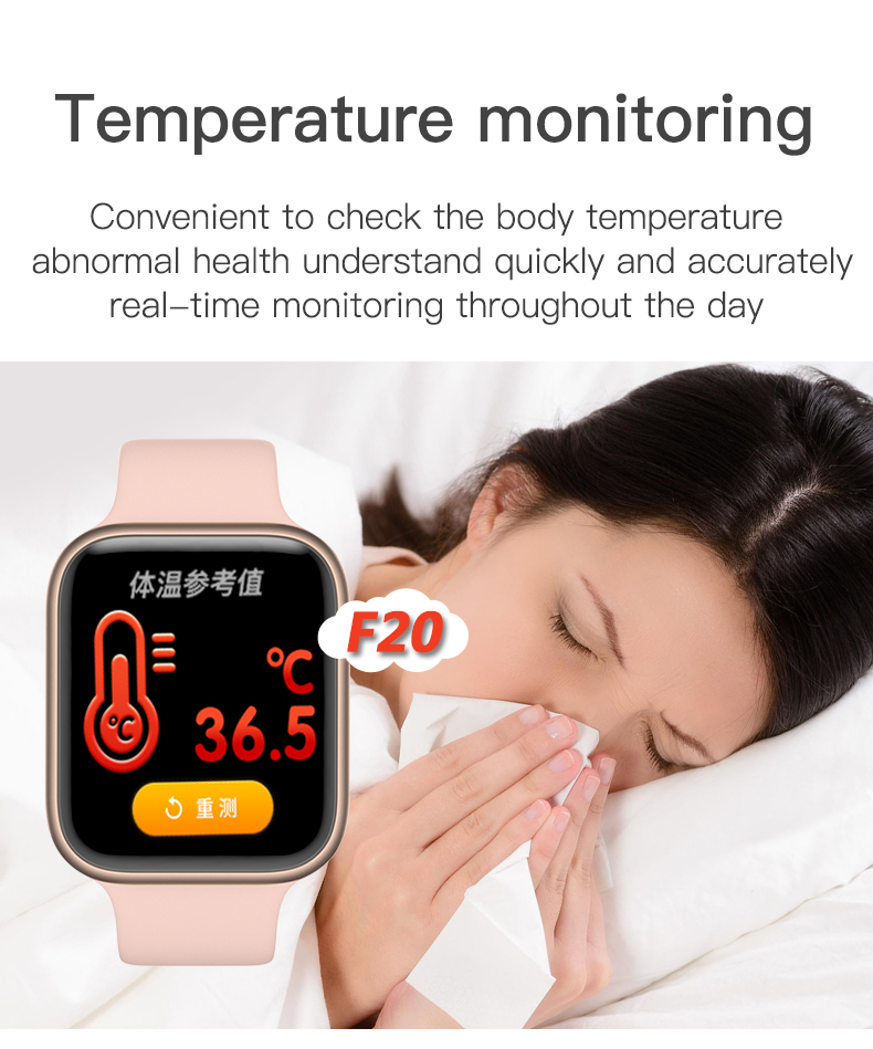 2020 New F20 smart watch thermometer call watch play music direct supply to wristwatch PK W26 W35 P18