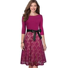 Женское винтажное платье Nice-forever, коктейльное кружевное платье в стиле ретро, с поясом, вечерние, Расклешенные платья BTYA160(Китай)