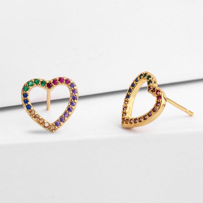 Valentine's Day Jewelry Geometric Round Colorful Crystal CZ Stud Earrings Gold Plating Multi Color Cubic Zirconia Heart Earrings