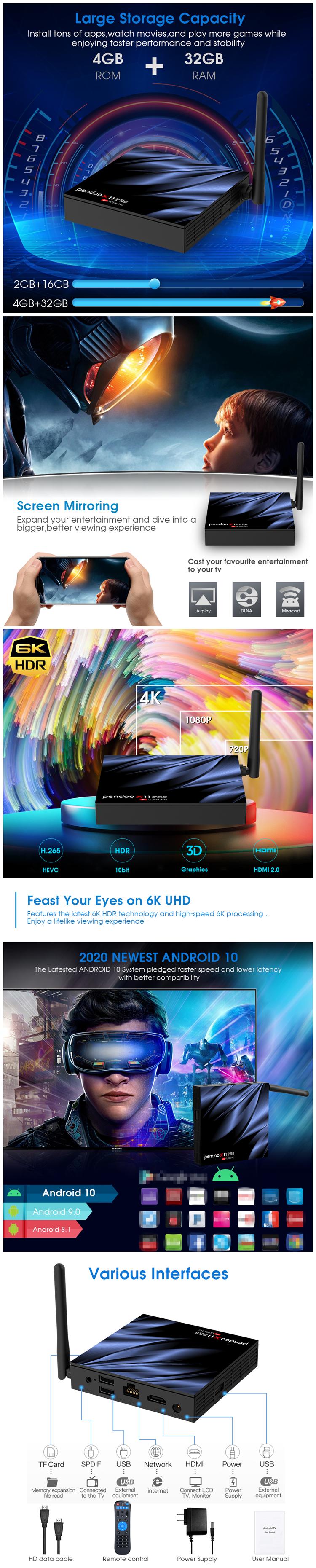 アンドロイド 10.0 Pendoo X11 プロ H616 Atsc チューナークアッドコアスマートベストバイペルシャインターネット 4 ギガバイト 64 ギガバイト Iptv セットトップ 10 テレビボックス 2 ギガバイト 16 ギガバイト