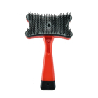 Competitive price pet hair product pet grooming brush self cleaning factory plastic pet fur remover comb