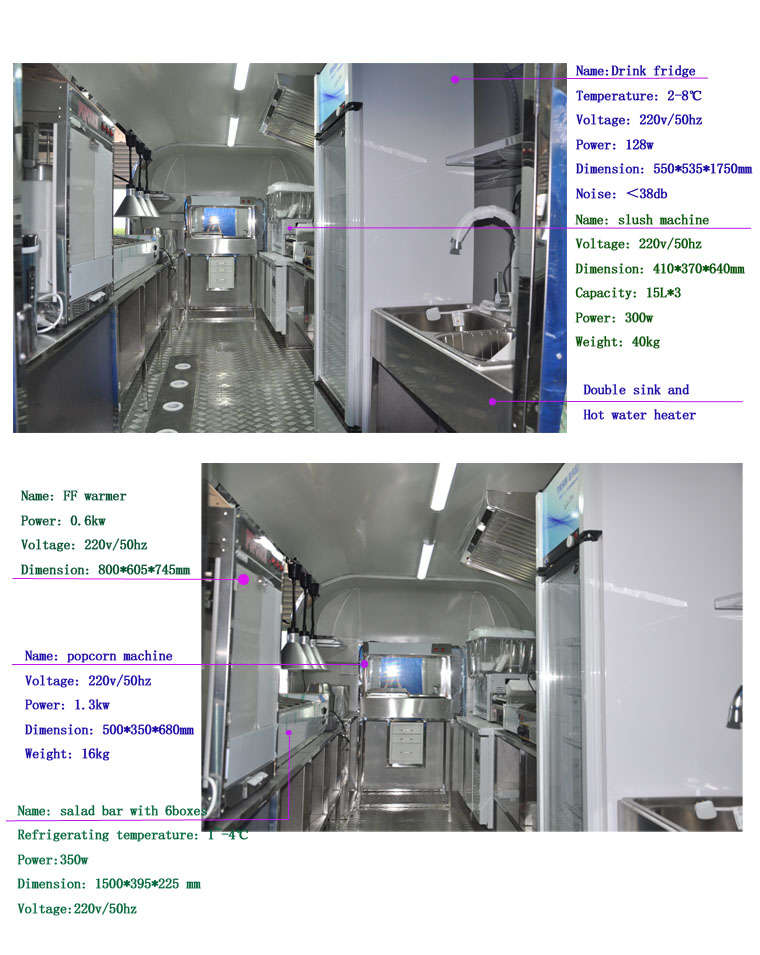 मोबाइल फास्ट फूड वेंडिंग Airstream खाद्य ट्रक ट्रेलर बिक्री के लिए