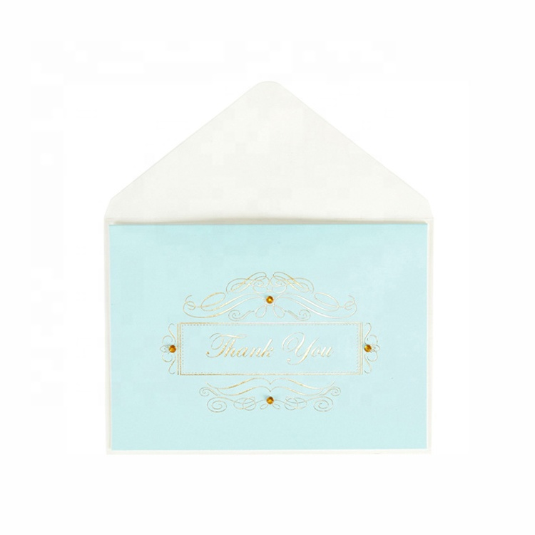 Light Blue Appreciation Thank You <strong>Cards</strong>, Gold Foil Stamped Greeting <strong>Cards</strong> with Cream Envelopes