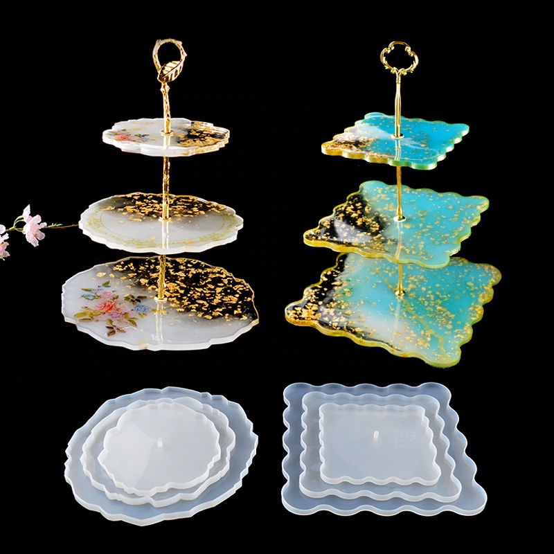 DIY Crystal Silicone Mold Three層Fruit Plate Tea Plate Epoxy Resin Mold CupパッドMould For Resin Art Home Decoration