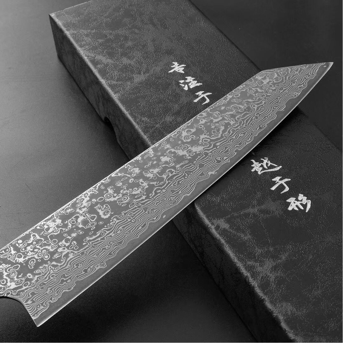 Damascus Gyuto Knife with Octagcnal Stabilized Wood Handle Kitchen Knives Kiritsuke Sashimi Salmon Sushi 8 inch Chef Knife