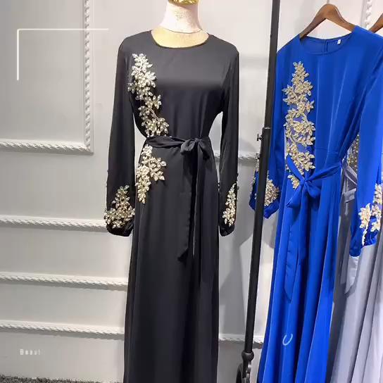 Vestido floral fino com mangas compridas vestido muçulmano vestuário oriente médio