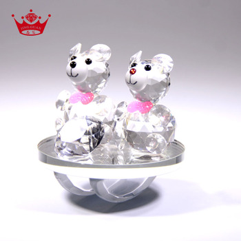 Round Base Lovely Transparent Diamond Crystal Bears For Table Decoration Or Wedding Souvenir