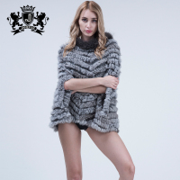 Hot Sale Women Genuine Rabbit Fur Cape Cloak Real Animal Fur Coat