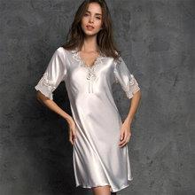 Новинка 2020, женское атласное ночное белье, шелковая ночная рубашка с коротким рукавом и вышивкой, сексуальное женское белье, шелковое ночно...(Китай)