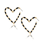 2019 New Metal Heart Earring Gold Hoop Earrings With Black Epoxy For Love Heart Women Earrings