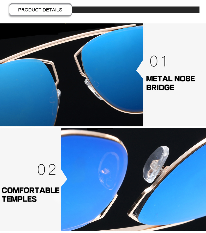 Hot Selling Unisex Sun Glass Vintage Mirror Oversized Men Women Sunglasses