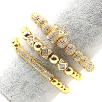 sale latest luxury 8mm elastic bangle 3pcs one set women handmade zircon diamond natural stone bracelet Diamond cross necklace