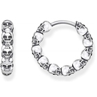 Funky Custom design skull women 925 sterling silver hoop earrings