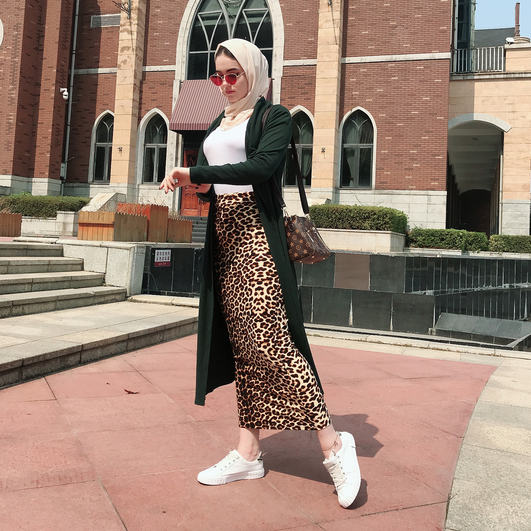 Women fashion muslim high waist leopard maxi pencil long skirt