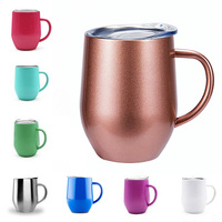 Drinkwares Products Supply Creative Design Wine Tumbler Custom Coffee Mug 304 Stainless Steel 12oz Eggshell Cup With Handle