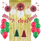 Umiss Paper Amazon hot sale Glitter Merry Christmas banner, Tissue fans, foil curtain for home party Hanging decoration supplies